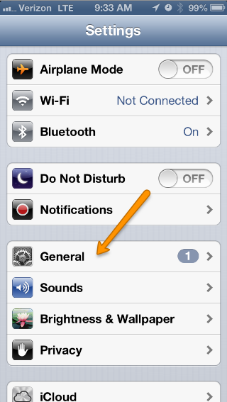 Go to the General section in your settings App.