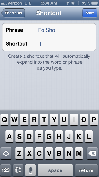 the Phrase is what you want it to say, the Shortcut is what you want to type to get that phrase.