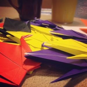 folded paper cranes